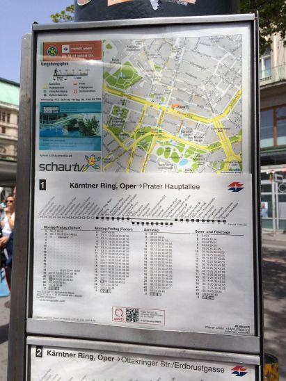 Information schedules at Wiener Linien (Vienna Transit) stops