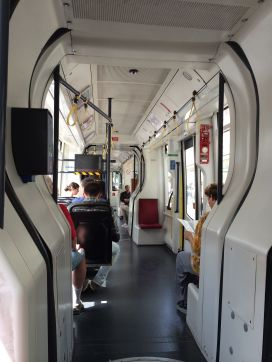 Interior of new Wiener Linien tram car