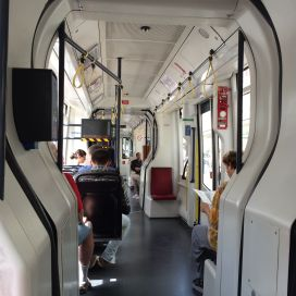 Interior of new Wiener Linien tram car