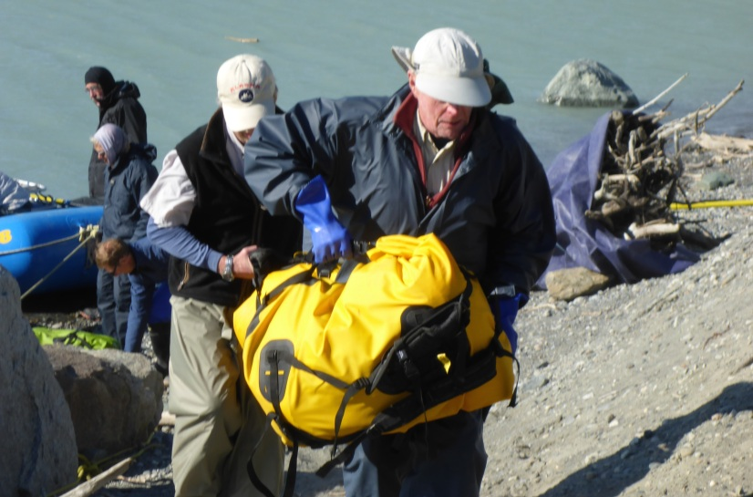 Unloading the riverbags
