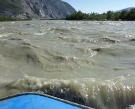 Fast water on the silty Alsek