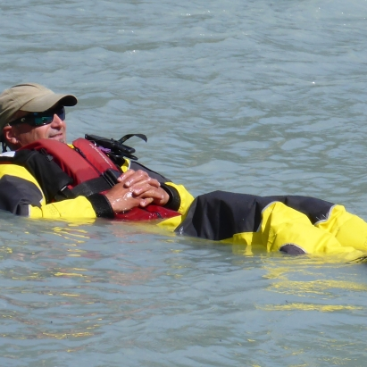 Whitey relaxing in his dry suit
