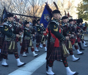 Pipe band on parade