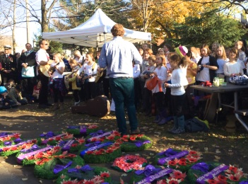 Cumberland School singing before Remembrance Ceremony in Westboro Ottawa