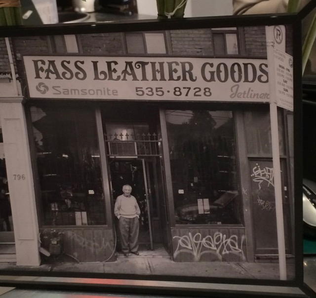 Zelig Fass in front of his Fass Leather Goods shop