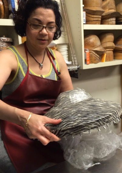 Shaping a wide-brimmed hat