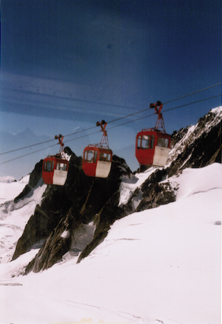 Close up of the cable cars