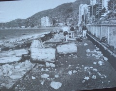 Damage after December 2001 storm when winds were 100 km/hour and waves were three meters high