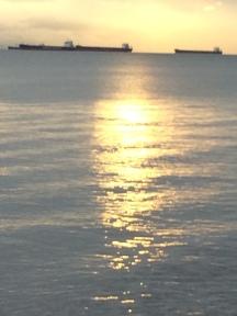 Cargo boats off shore